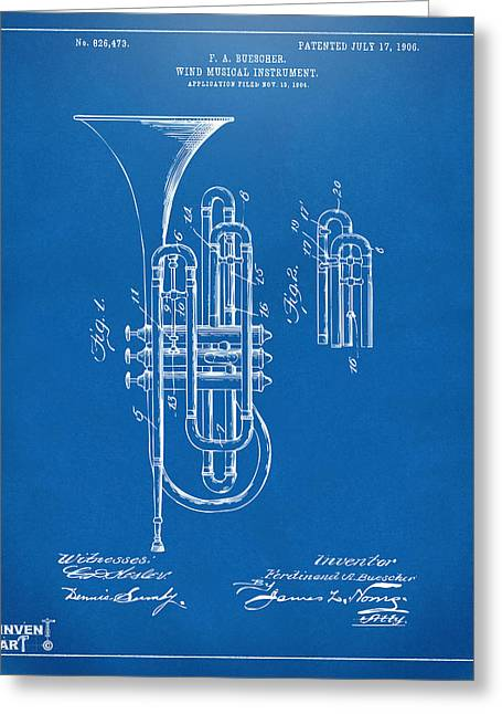 Marching Band Greeting Cards - 1906 Brass Wind Instrument Patent Artwork Blueprint Greeting Card by Nikki Marie Smith