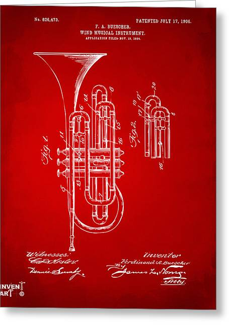 Wind Instrument Greeting Cards - 1906 Brass Wind Instrument Patent Artwork Red Greeting Card by Nikki Marie Smith