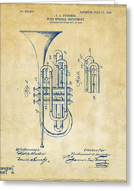 1906 Brass Wind Instrument Patent Artwork Vintage Greeting Card by Nikki Marie Smith