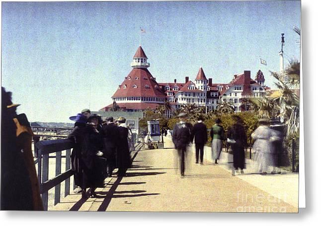 California Beach Art Greeting Cards - 1906 Del Boardwalk Greeting Card by Coronado Art Gallery