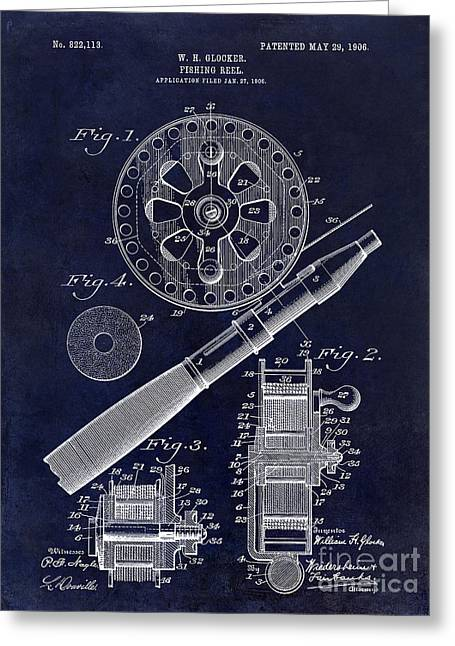 Baits Greeting Cards - 1906 Fishing Reel Patent Drawing Blue Greeting Card by Jon Neidert