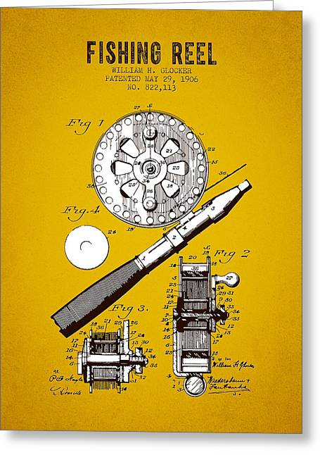 Tackle Greeting Cards - 1906 Fishing Reel Patent - Yellow Brown Greeting Card by Aged Pixel