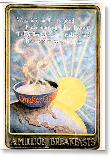 Quakers Digital Art Greeting Cards - 1906 - Quaker Oats Cereal Advertisement - Color Greeting Card by John Madison