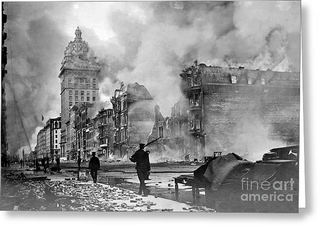 Earthquake Greeting Cards - 1906 Vintage San Francisco Fire Greeting Card by Jon Neidert