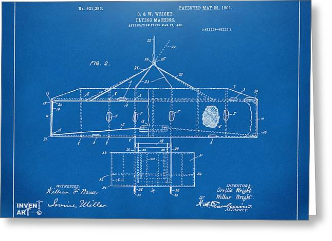 Mach Digital Art Greeting Cards - 1906 Wright Brothers Airplane Patent Blueprint Greeting Card by Nikki Marie Smith