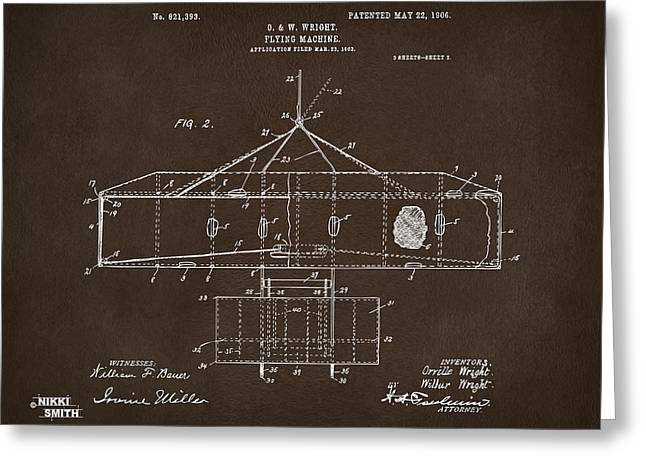 Conversations Greeting Cards - 1906 Wright Brothers Airplane Patent Espresso Greeting Card by Nikki Marie Smith