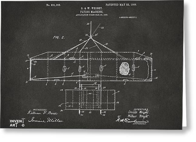 Grey Fine Art Greeting Cards - 1906 Wright Brothers Airplane Patent Gray Greeting Card by Nikki Marie Smith