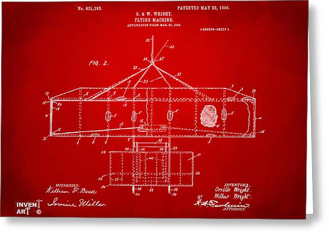 Mach Digital Art Greeting Cards - 1906 Wright Brothers Airplane Patent Red Greeting Card by Nikki Marie Smith