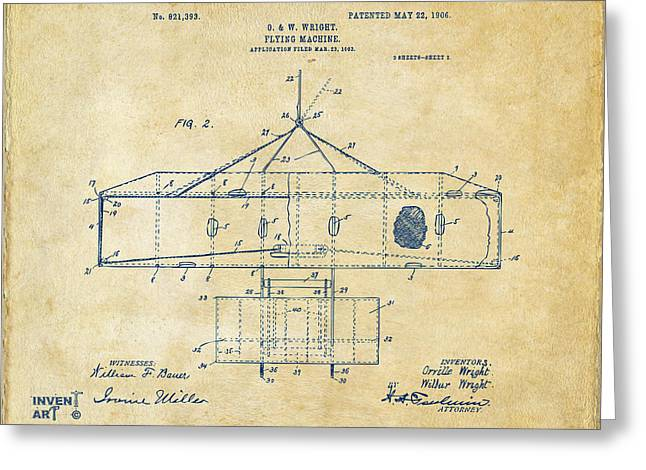 Mach Digital Art Greeting Cards - 1906 Wright Brothers Airplane Patent Vintage Greeting Card by Nikki Marie Smith