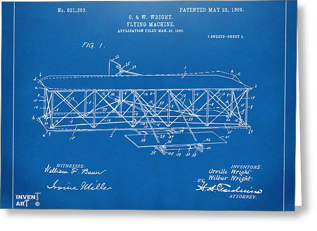 Line Art Greeting Cards - 1906 Wright Brothers Flying Machine Patent Blueprint Greeting Card by Nikki Marie Smith