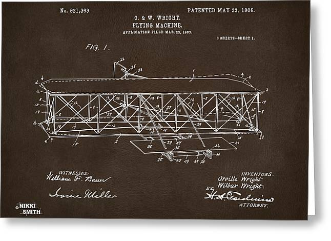 Conversations Greeting Cards - 1906 Wright Brothers Flying Machine Patent Espresso Greeting Card by Nikki Marie Smith