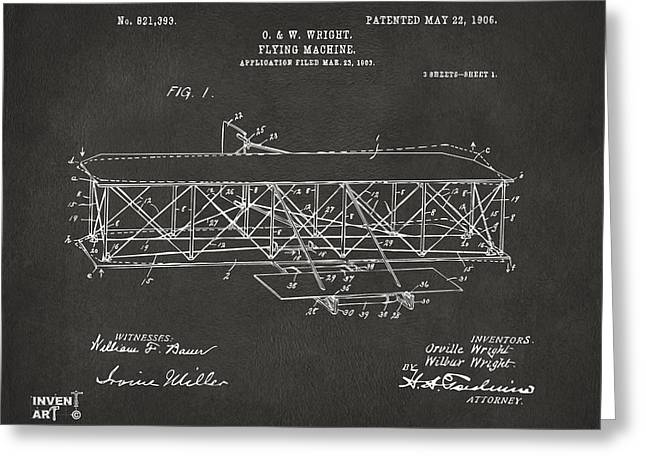 Grey Fine Art Greeting Cards - 1906 Wright Brothers Flying Machine Patent Gray Greeting Card by Nikki Marie Smith