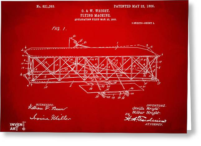 Conversations Greeting Cards - 1906 Wright Brothers Flying Machine Patent Red Greeting Card by Nikki Marie Smith