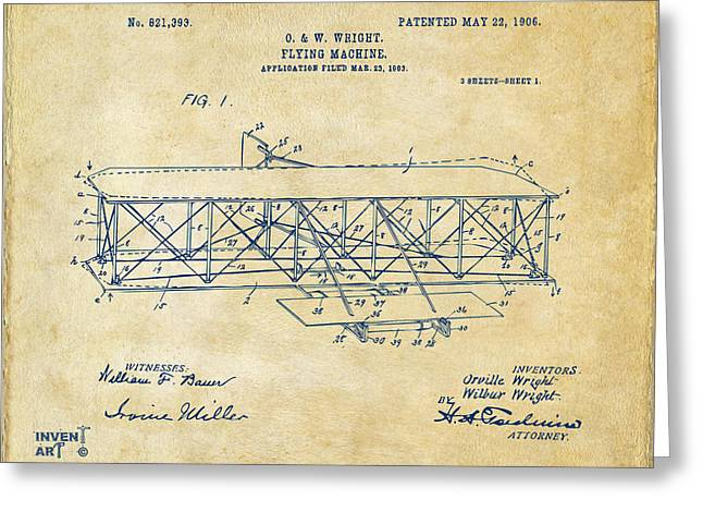 Schematic Greeting Cards - 1906 Wright Brothers Flying Machine Patent Vintage Greeting Card by Nikki Marie Smith