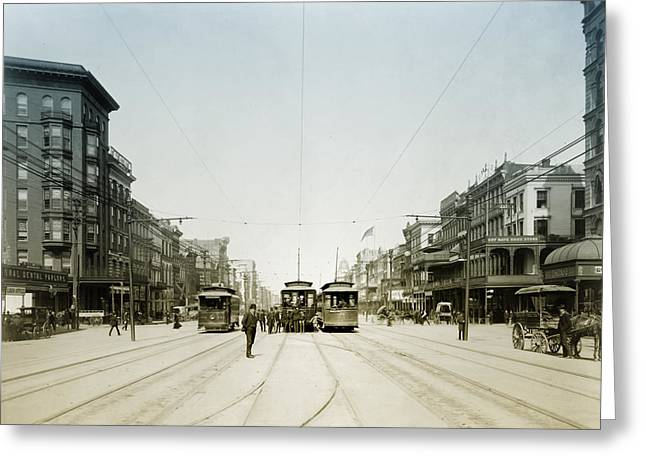 1907 Greeting Cards - 1907 Canal Street New Orleans Greeting Card by Digital Reproductions