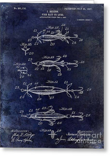 Fly Photographs Greeting Cards - 1907 Fishing Lure Patent Blue Greeting Card by Jon Neidert