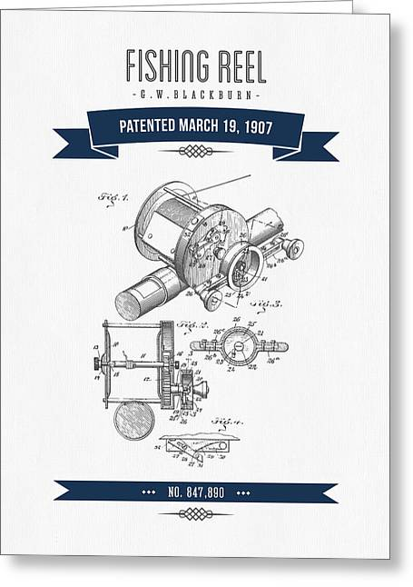 Fishing Mixed Media Greeting Cards - 1907 Fishing Reel Patent Drawing - Navy Blue Greeting Card by Aged Pixel