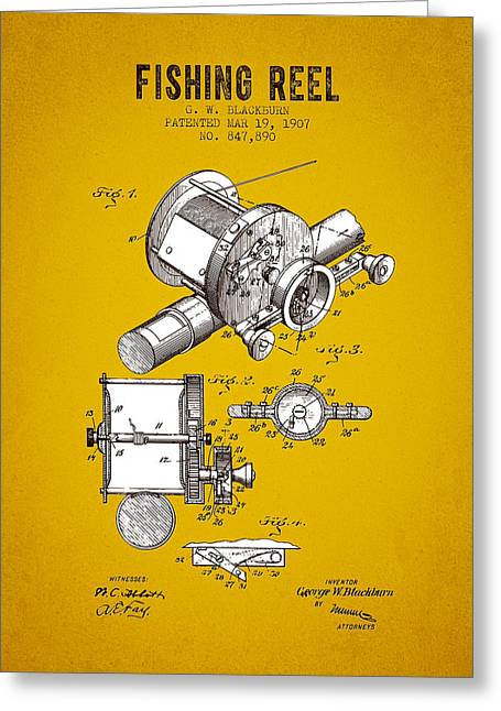 Trout Fishing Greeting Cards - 1907 Fishing Reel Patent - Yellow Brown Greeting Card by Aged Pixel