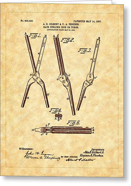 1907 Digital Greeting Cards - 1907 Hair Curling Iron Patent Art Greeting Card by Barry Jones