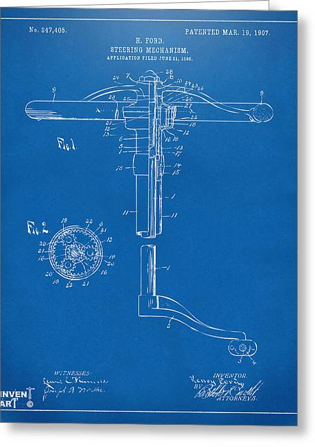 Henry Digital Greeting Cards - 1907 Henry Ford Steering Wheel Patent Blueprint Greeting Card by Nikki Marie Smith