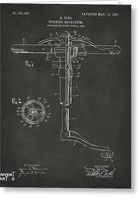 Steering Greeting Cards - 1907 Henry Ford Steering Wheel Patent Gray Greeting Card by Nikki Marie Smith