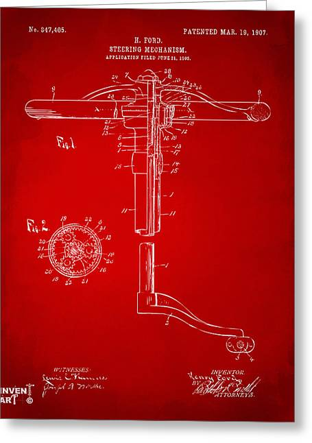 Henry Digital Greeting Cards - 1907 Henry Ford Steering Wheel Patent Red Greeting Card by Nikki Marie Smith