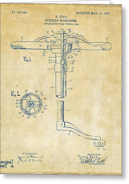 Henry Digital Greeting Cards - 1907 Henry Ford Steering Wheel Patent Vintage Greeting Card by Nikki Marie Smith