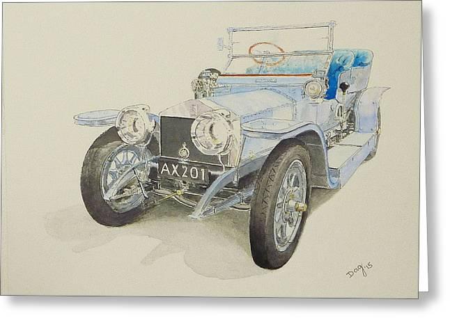 1907 Greeting Cards - 1907 Rolls Royce Silver Ghost Greeting Card by David Godbolt