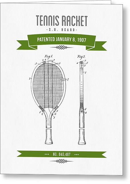 Technical Mixed Media Greeting Cards - 1907 Tennis Racket Patent Drawing - Retro Green Greeting Card by Aged Pixel
