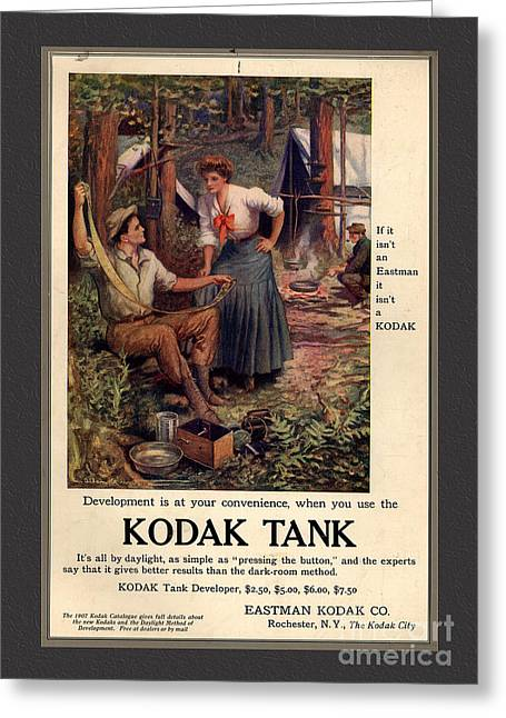 1907 Mixed Media Greeting Cards - 1907 Vintage Kodak Tank Advertising Greeting Card by Anne Kitzman