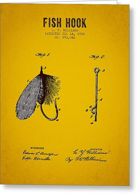 Trout Fishing Greeting Cards - 1908 Fish Hook Patent - Yellow Brown Greeting Card by Aged Pixel