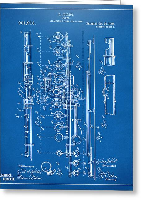 Marching Band Greeting Cards - 1908 Flute Patent - Blueprint Greeting Card by Nikki Marie Smith