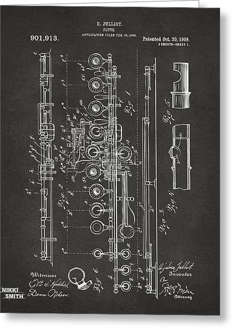 1908 Flute Patent - Gray Greeting Card by Nikki Marie Smith