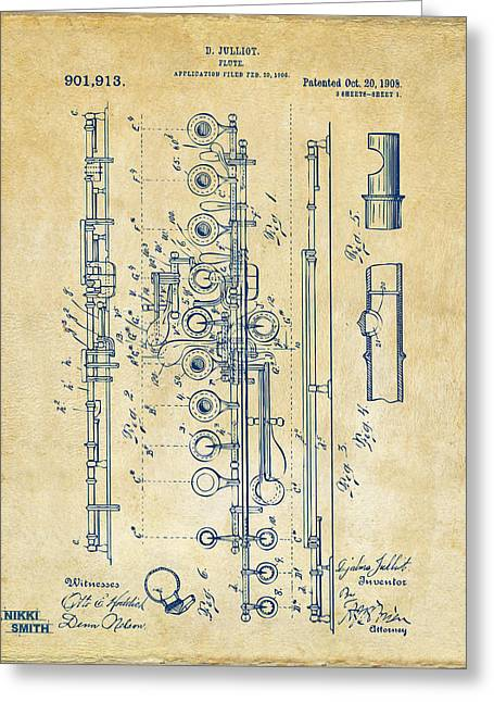 1908 Flute Patent - Vintage Greeting Card by Nikki Marie Smith
