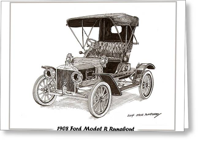 Quite Drawings Greeting Cards - 1908 Ford Model R Runabout Greeting Card by Jack Pumphrey