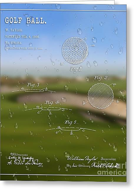 Balls Framed Prints Greeting Cards - 1908 Golf Ball Patent Art William Taylor 1 Greeting Card by Nishanth Gopinathan