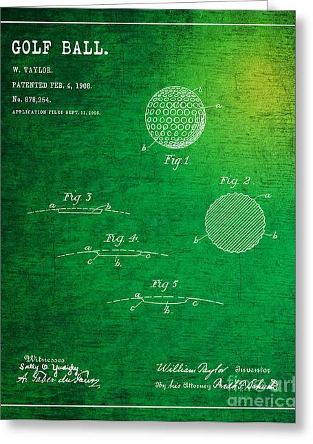 Balls Framed Prints Greeting Cards - 1908 Golf Ball Patent Art William Taylor 2 Greeting Card by Nishanth Gopinathan
