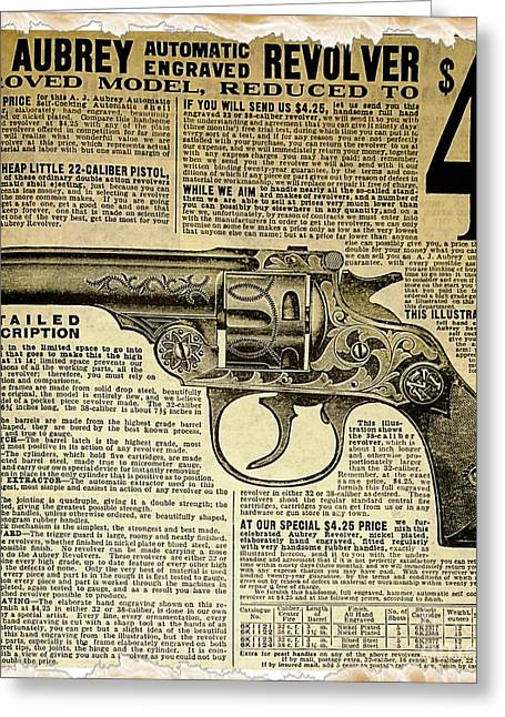 1908 Revolver Ad Greeting Card by Cheryl Young