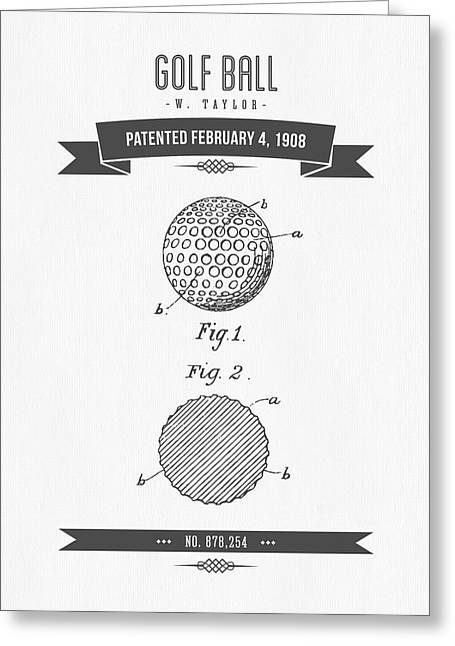 Recently Sold -  - Technical Greeting Cards - 1908 Taylor Golf Ball Patent Drawing - Retro Gray Greeting Card by Aged Pixel