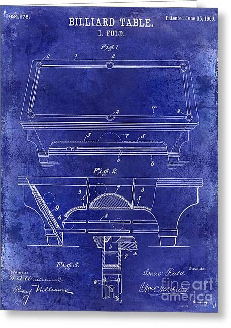 Billiards Greeting Cards - 1909 Billiard Table Patent Drawing Blue Greeting Card by Jon Neidert