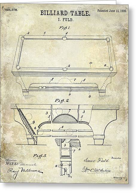 Man Room Greeting Cards - 1909 Billiard Table Patent Drawing  Greeting Card by Jon Neidert
