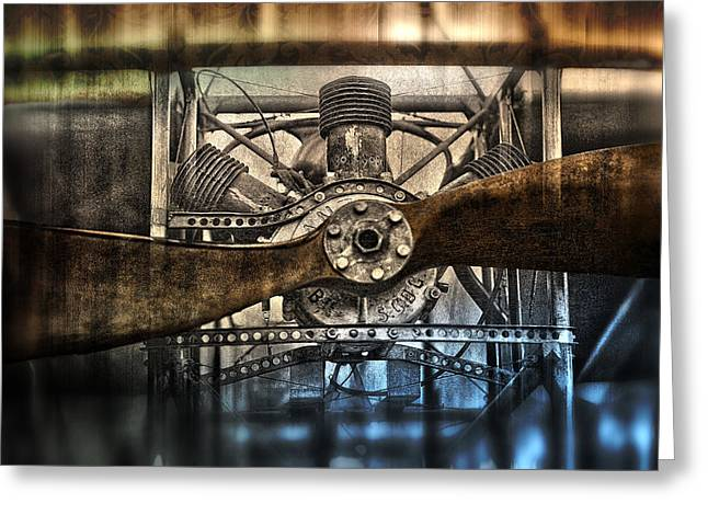1909 Biplane Engine And Propeller Greeting Card by Daniel Hagerman