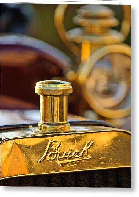 Touring Greeting Cards - 1909 Buick Model F Touring Hood Ornament Greeting Card by Jill Reger
