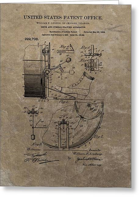 Playing Musical Instruments Mixed Media Greeting Cards - 1909 Drum Patent Greeting Card by Dan Sproul