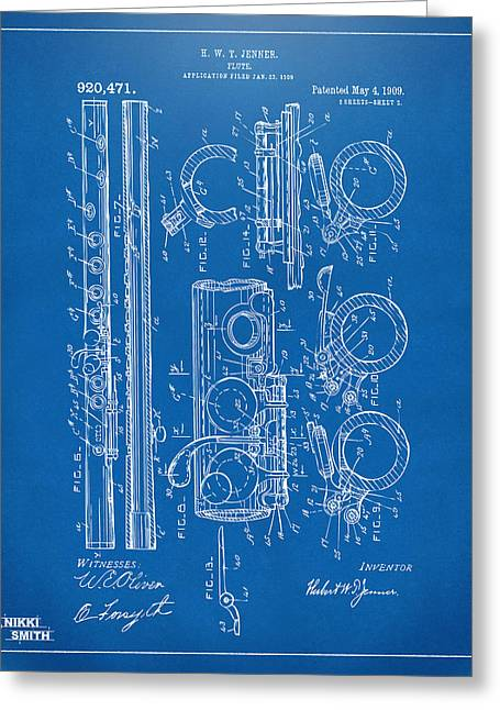 1909 Flute Patent - Blueprint Greeting Card by Nikki Marie Smith