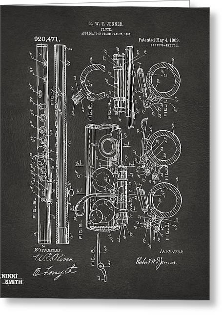 Marching Band Greeting Cards - 1909 Flute Patent - Gray Greeting Card by Nikki Marie Smith