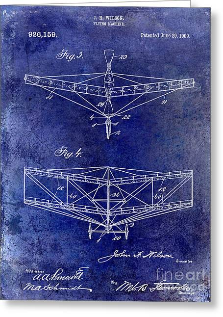 Vintage Aircraft Greeting Cards - 1909 Flying Machine Patent Drawing Blue Greeting Card by Jon Neidert