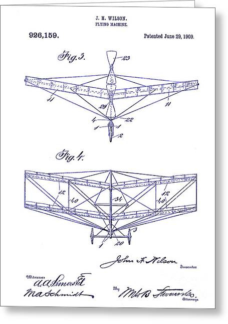 Vintage Aircraft Greeting Cards - 1909 Flying Machine Patent Drawing Blueprint Greeting Card by Jon Neidert