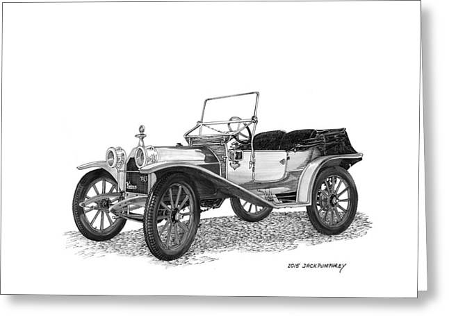 Valuable Drawings Greeting Cards - 1909 Hupp Model 20 Roadster Greeting Card by Jack Pumphrey