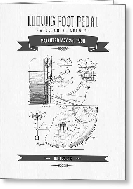 Drum Art Greeting Cards - 1909 Ludwig Foot Pedal Patent Drawing Greeting Card by Aged Pixel